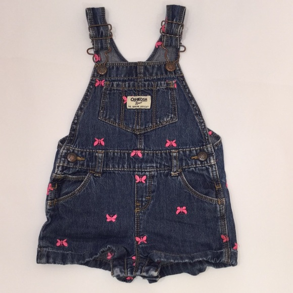 OshKosh B'gosh Other - 18 month Pink Butterfly Denim Overalls Shorts